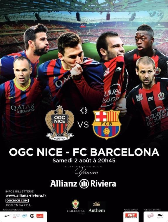 Les stars barcelonaises Iniesta, Piqué et Messi fouleront le tapis vert de l'Allianz Riviera face aux Niçois Bosetti, Bodmer et Mendy.