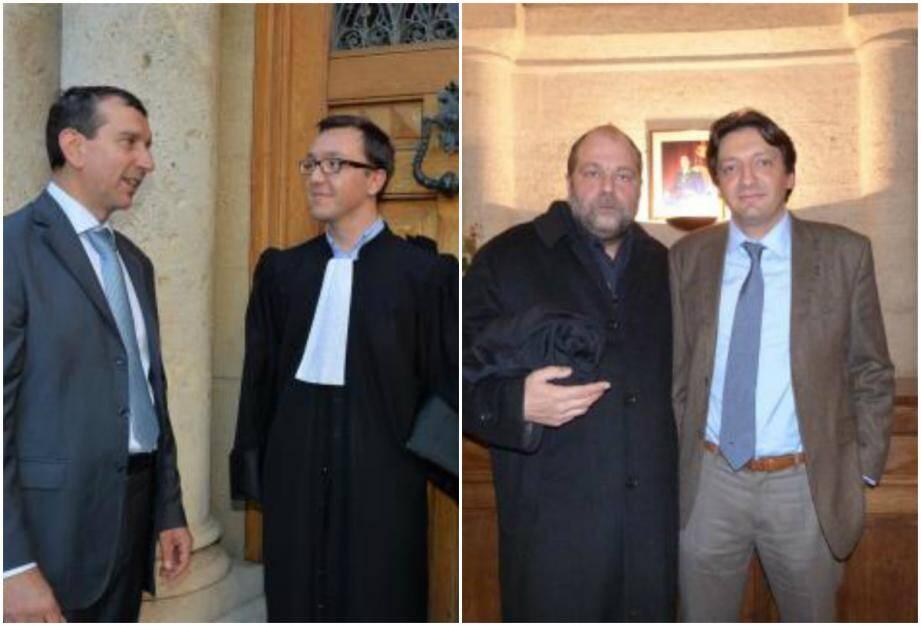 A gauche, Jean-François Robillon et l'un de ses avocats Olivier Marquet. A droite, Jean-Sébasstin Fiorucci aux côtés de Me Eric Dupont-Moretti