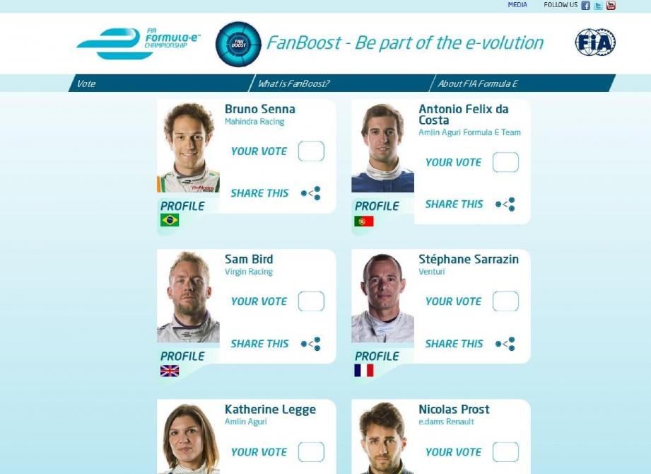 Pour voter, il suffit de s'inscrire sur le site Fan Boost de la FIA - Formula E. Deux pilotes représentent Venturi : Stéphane Sarrazin et Nick Heidfeld.