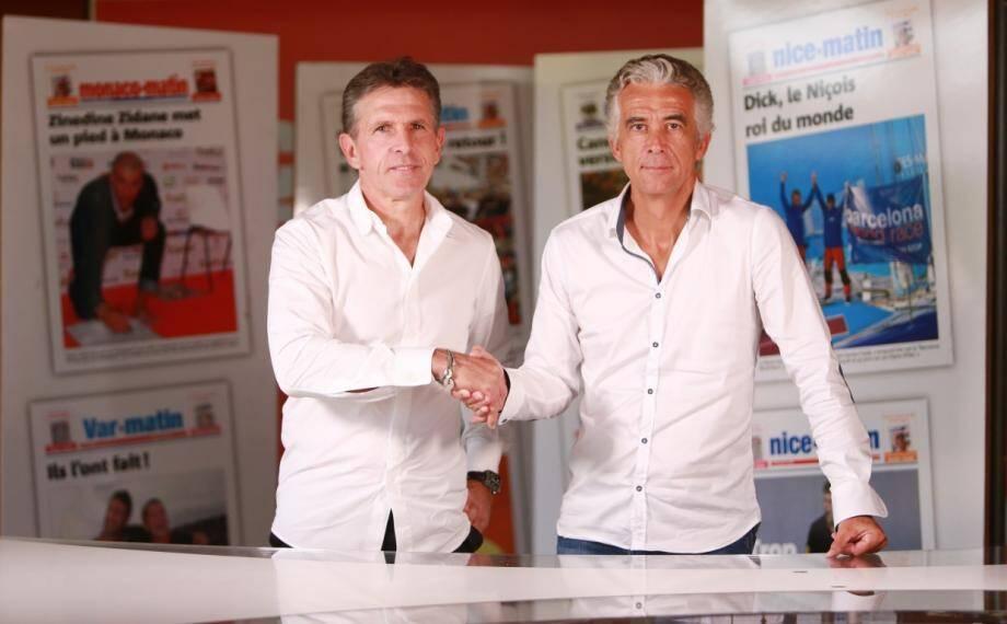 Jean-Pierre Rivère et Claude Puel sont venus dans les locaux de Nice-Matin officialiser la prolongation de contrat du coach de l'OGC Nice.