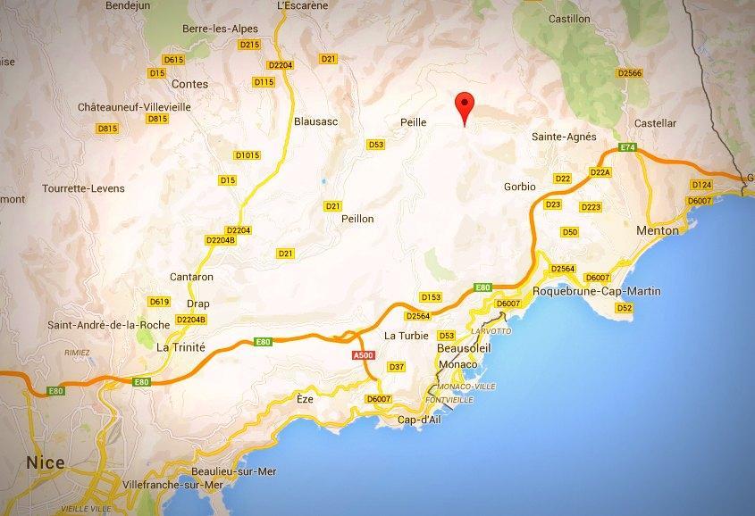 col de la madone capture ecran google maps 141019