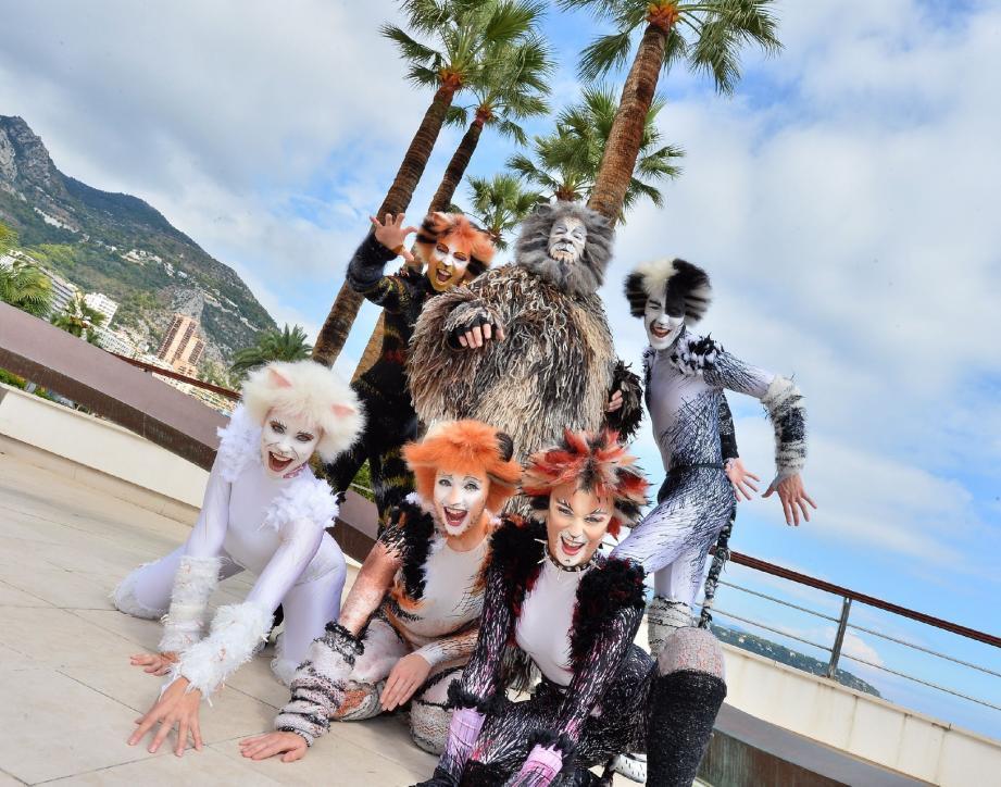 Une partie des artistes de la comédie musicale ont pris la pose hier après-midi sur les terrasses du Grimaldi Forum.