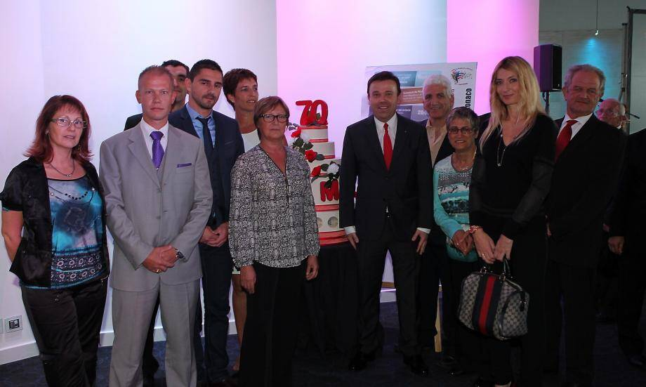 Les membres du bureau de l'USM ont célébré ce 70e anniversaire aux côtés du conseiller de gouvernement pour les Affaires sociales et la Santé, Stéphane Valeri.