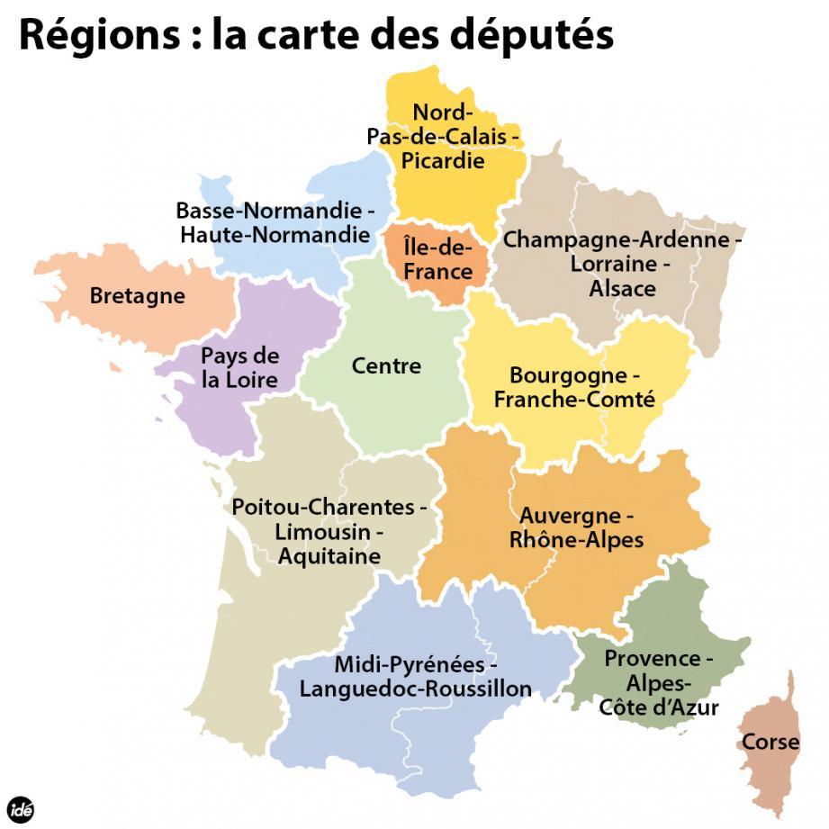 La carte des 13 régions pour 2016