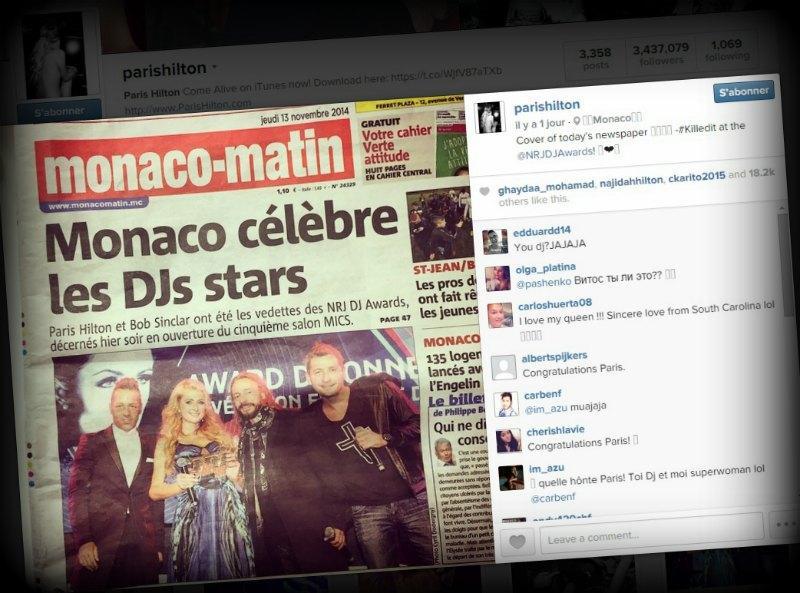Une capture d'écran de la Une de Monaco-Matin sur le compte Instagram de Paris Hilton.