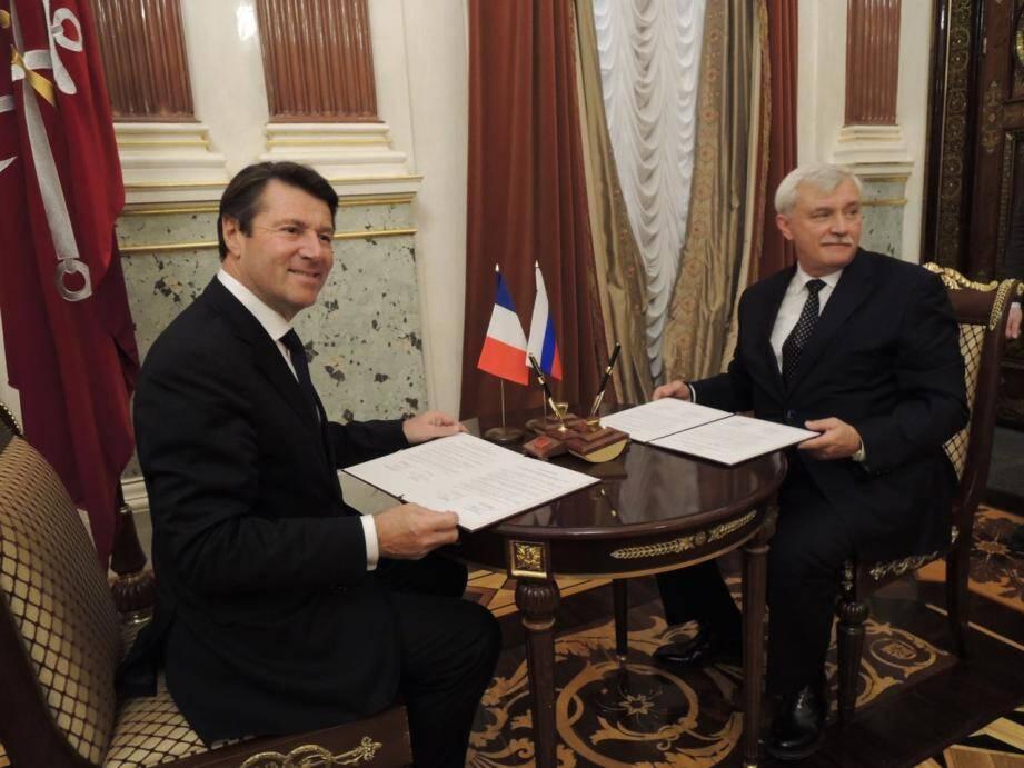 Christian Estrosi, maire de Nice et président de la métropole de Nice Côte d'Azur, et le gouverneur de Saint-Pétersbourg, Georgy Poltavchenko.