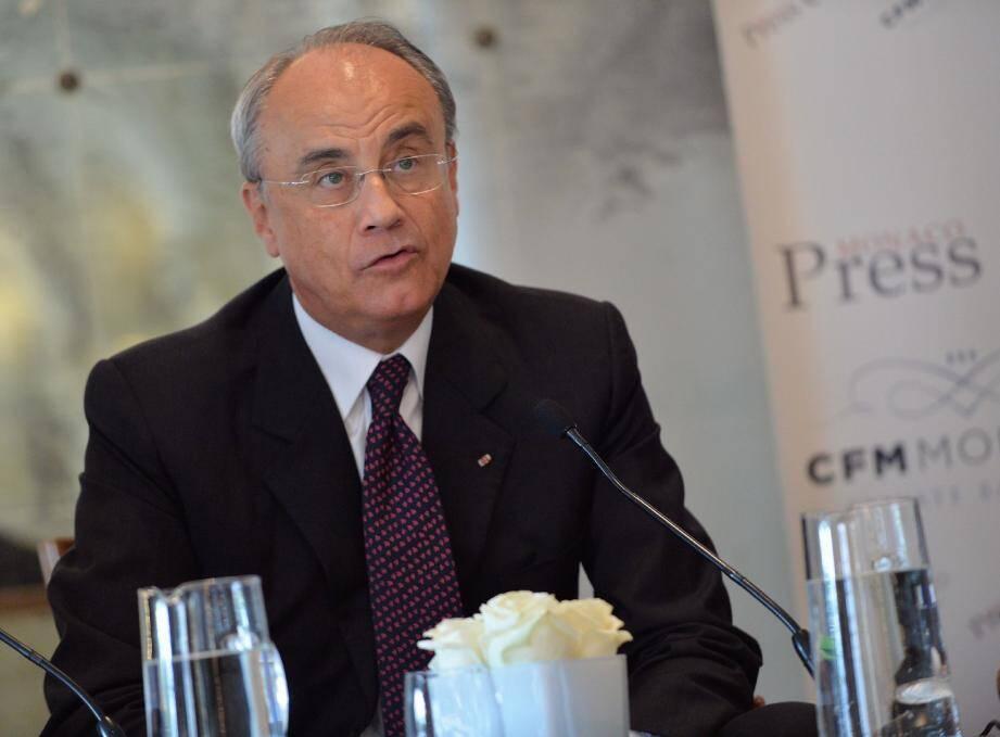 Jean-Luc Biamonti, président délégué de la SBM, hier matin au salon Excelsior de l'hôtel Hermitage.