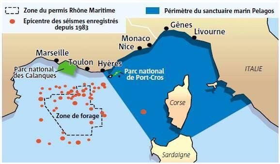 Une immense zone maritime (25000 km2), entre les îles d'Hyères et Marseille.