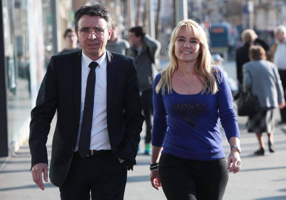 Anne Ramos et Philippe Rossini, candidats UMP-UDI, en marche sur le canton Nice 8.