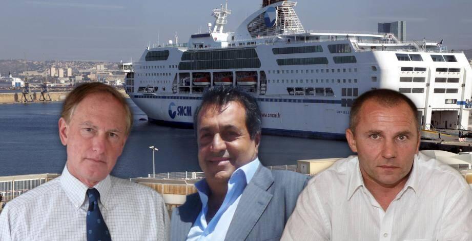 Christian Garin (Med Partners), Daniel Berrebi (Baja Ferries) et Patrick Rocca (groupe Rocca).(Archives C-M)