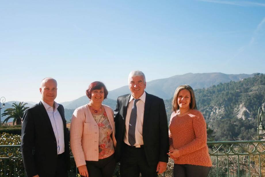 Sébastien Vassallo, Henriette Royal-Calcagno, Michel Lottier et Alexandra Russo (de gauche à droite) veulent inscrire Paillons, Bévéra et Roya dans la majorité départementale.(DR)