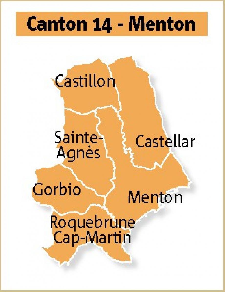 L'actuel canton de Menton regroupe : l'ancien canton de Menton Ouest (Roquebrune, Gorbio, Sainte-Agnès), la commune de Castillon - auparavant avec le canton de Sospel - et l'ancien canton de Menton Est (Menton et Castellar).(Infographie Rina Uzan)
