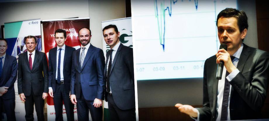Michel Dotta, président de la CDE, entouré des partenaires de la conférence (à gauche). Julien Marcilly, intervenant Coface (à droite)