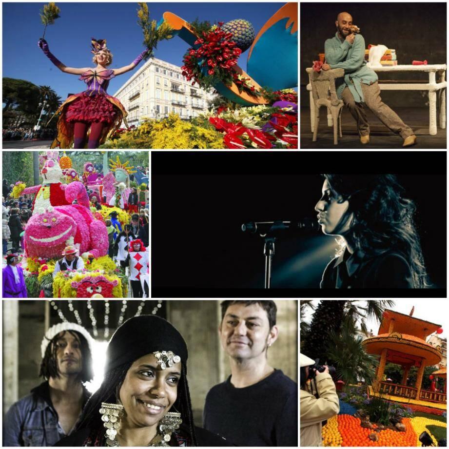 """Carnaval de Nice, """"La liste de mes envies"""" au Pradet, Corso Fleuri à Bormes-Les-Mimosas, Tal à Sanary, Orange Blossom à Cannes et Fête du Citron à Menton."""