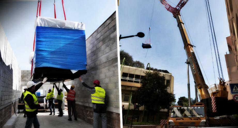 Une grue de 400 tonnes a été nécessaire pour déposer les deux groupes électrogènes sur le toit du bâtiment.