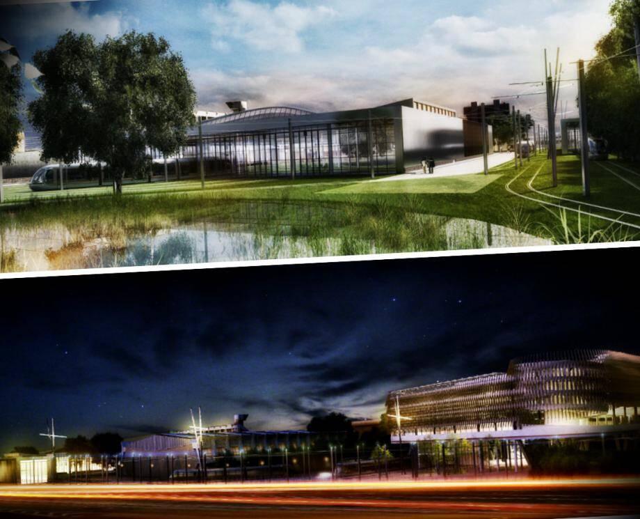 A gauche, le bâtiment « signal », visible par tous, qui abrite les parkings relais en étages. A droite, le bâtiment de maintenance, immense atelier vitré où les trams seront entretenus.