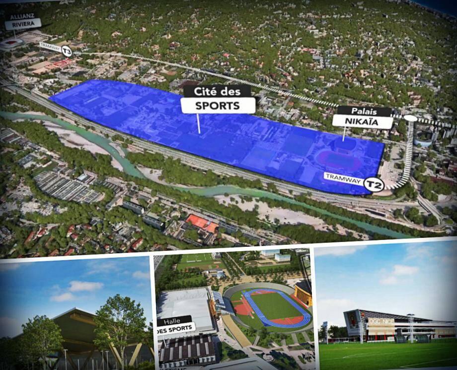 La Cité des sports sera construite entre le Parc Charles-Ehrmann et le stade Allianz Riviera et desservie par les futures lignes du tram.