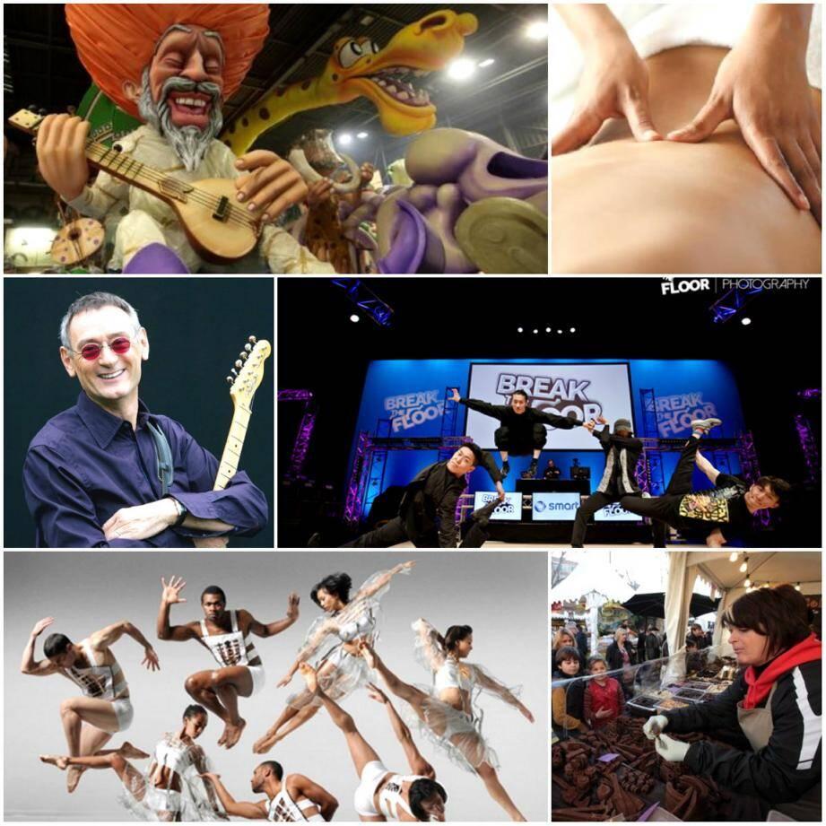 """Carnaval de Nice, Salon du bien-être et de la maison à Hyères, Michaël Jones à Cogolin, Break The Floor à Cannes, """"Figure In"""" à Sainte-Maxime et Salon Pain, Amour et Chocolat à Antibes."""