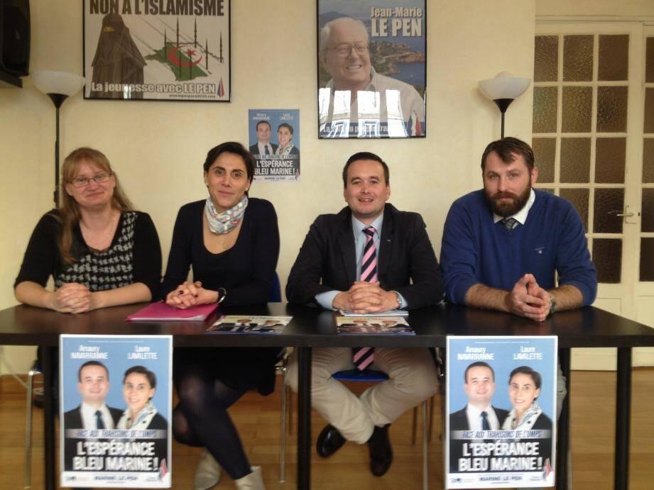 Myriam Taboné et Nicolas Koutseff, les deux suppléants encadrent les candidats aux Départementales, Laure Lavalette et Amaury Navarranne.