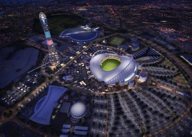 Une vue générale du futur stade de Doha.