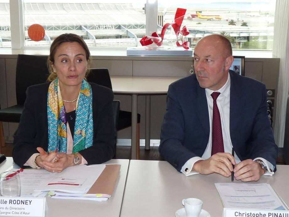 Isabelle Rodney, membre du directoire et Christophe Pinault, président du directoire de la Caisse d'Epargne Côte d'Azur.