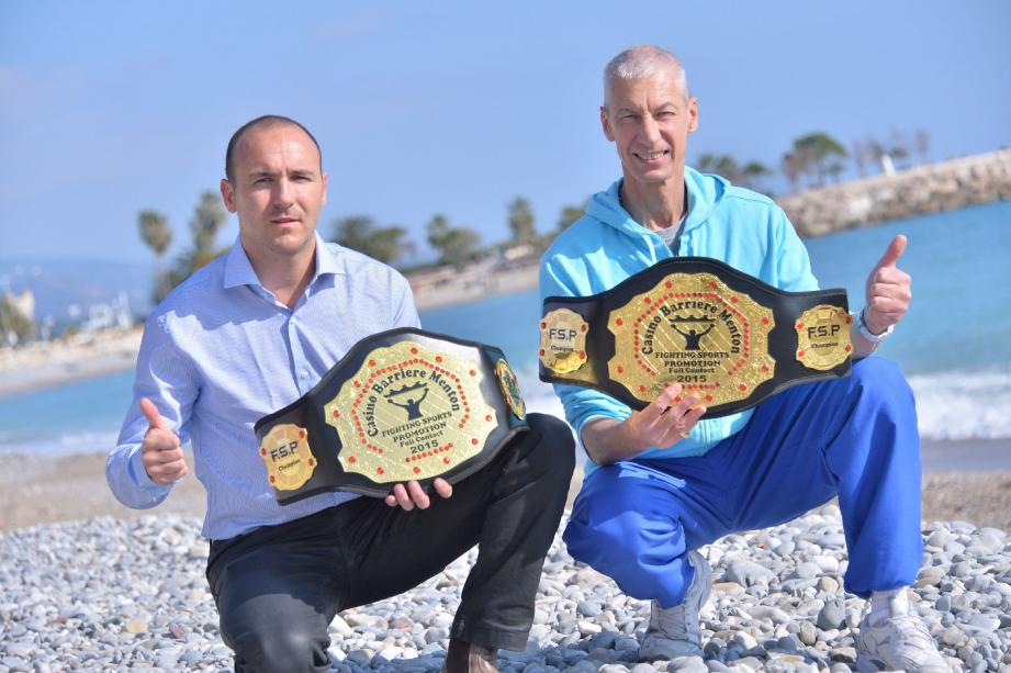 Eric Angio et Michel Boullanger, du Boxing Karaté Menton, remettront les ceintures «Fighting Sports Promotion» à l'issue des tournois.