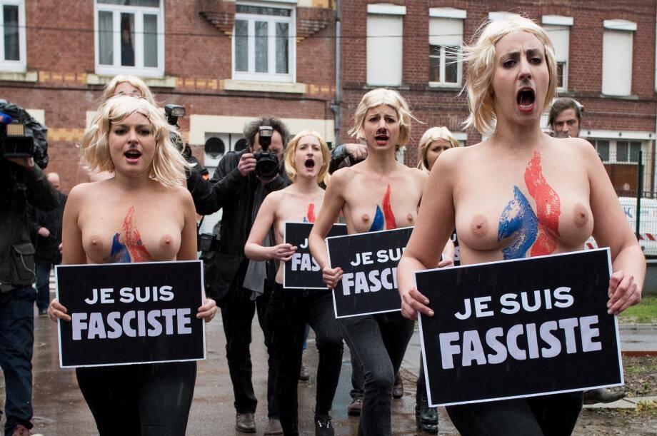 Les femen protestent contre le FN au 2nd tour des départementales
