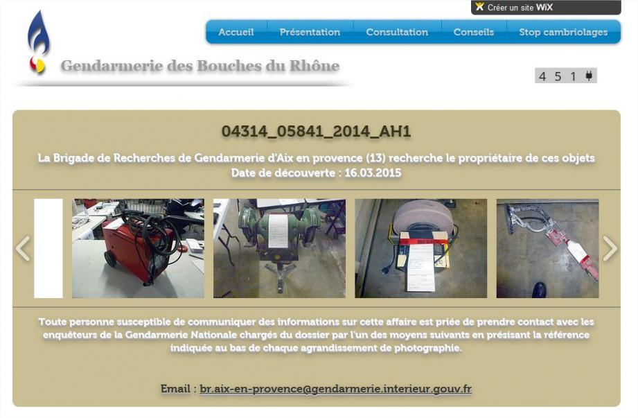 Les outils ont été photographiés et un site internet a été mis en place afin de tenter de retrouver les propriétaires.