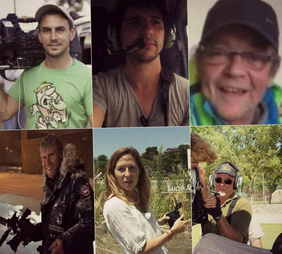 Le cameraman Brice Guilbert, le chef de projet Volodia Guinard, l'ingénieur du son Edouard Gilles, le réalisateur Laurent Sbasnik, la journaliste Lucie Mei-Dalby et le pilote argentin Juan Carlos Eduardo
