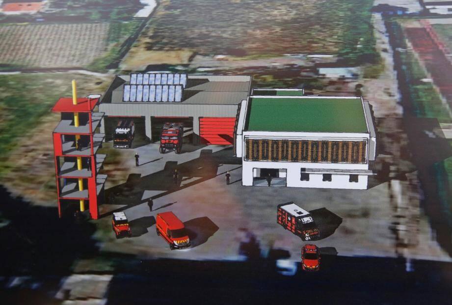 La maquette de la future caserne des pompiers de Saint-Laurent-du-Var