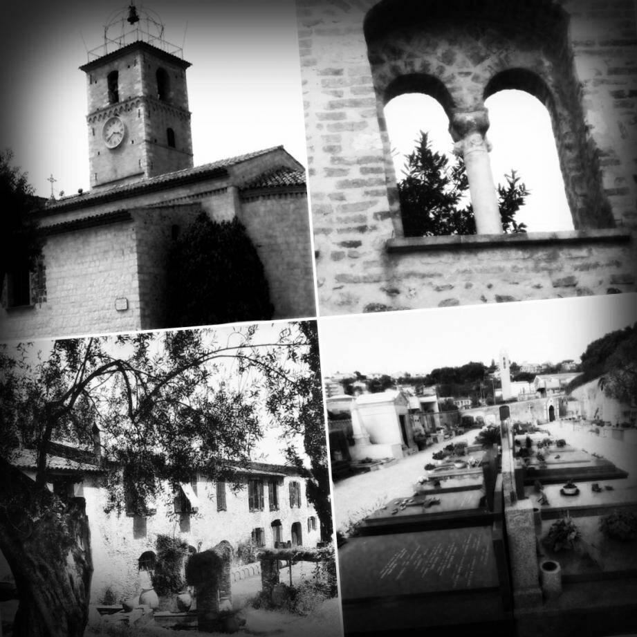 De haut en bas, de gauche à droite, l'église romane, le mur de l'ancien hospice, le moulin des Pugets et le vieux cimetière Saint-Antoine.