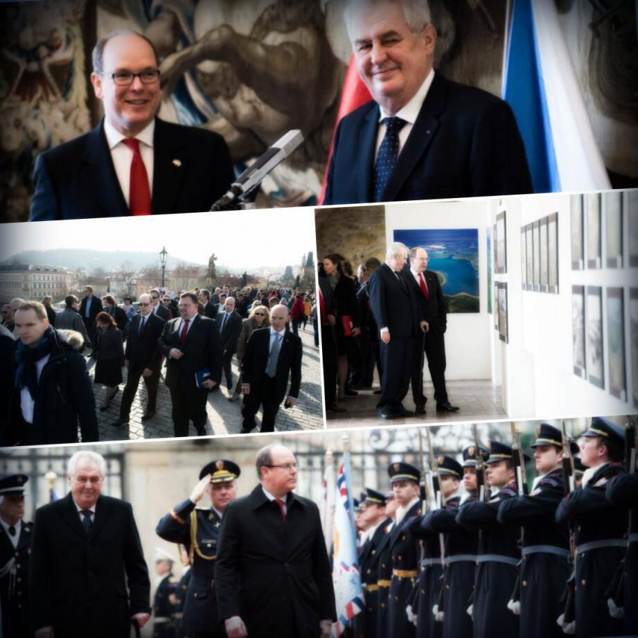 Visite de l'église Lady Victorious et du Château de Prague avant le passage en revue traditionnel et la parade militaire pour le prince Albert-II en visite d'Etat en République Tchèque