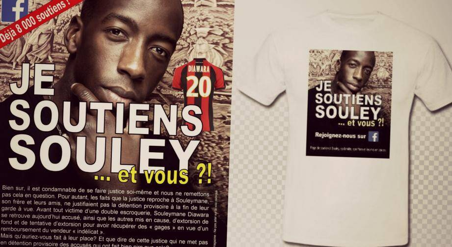 """Une quinzaine de personnes vêtues de t-shirts """"Je soutiens Souley et vous?"""" seront présentes autour de l'Allianz Riviera ce samedi pour distribuer 10.000 flyers."""