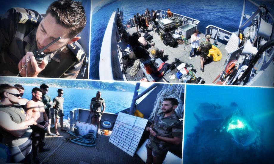 Ce jeudi, pour l'opération de déminage, à bord du Pluton, le bâtiment de base du GPD, ils étaient 12 plongeurs avec 2 soutiens médicaux, ainsi que l'équipage du navire (17 personnes).
