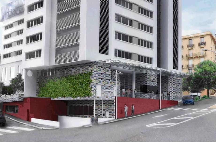 L'entrée du bâtiment doit être traitée avec une faïence colorée en façade pour accueillir les 700 élèves.