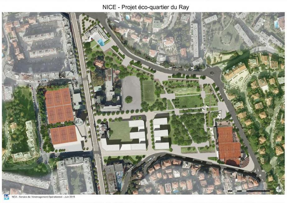 Les logements sont dans les deux ensembles en peigne et au sud. L'école est conservée et restructurée et le plateau sportif est développé à l'ouest du boulevard Gorbella. (Repro document Métropole)