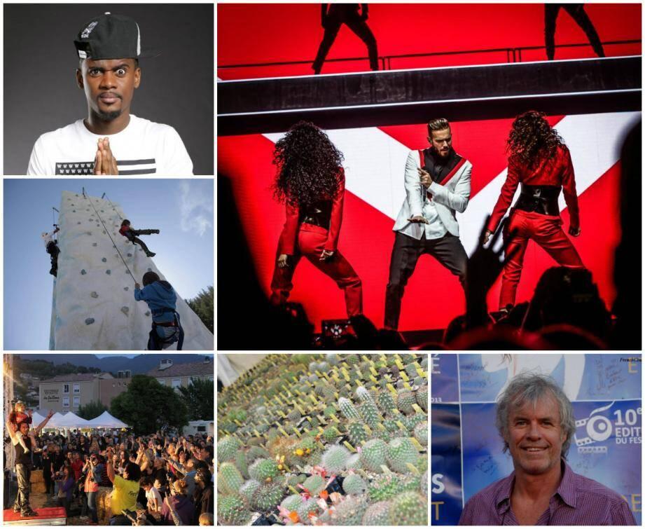 Balck M à La Seyne-sur-Mer, M. Pokora à Toulon, Journées Verticales dans le haut-pays Niçois, Festivallée Rock à Drap, Expo Cactus à Monaco et Olivier Pagès au Salon du Polar au Lavandou.