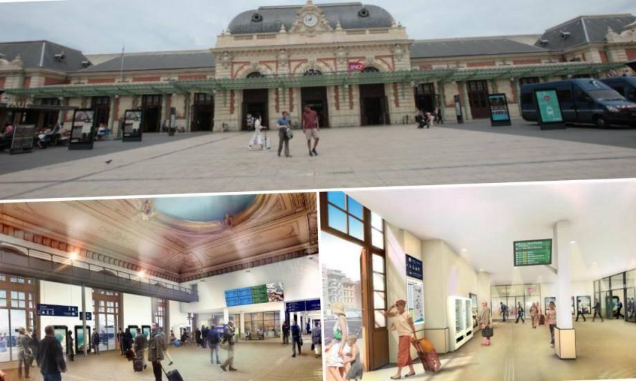 Les travaux de rénovation de la gare Thiers à Nice mettront à disposition des voyageurs un hall de départ élargi, une nouvelle sortie va être créée et une passerelle de 6m de large avec escaliers mécaniques et ascenseurs verront le jour.
