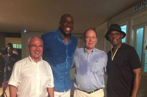 Jean Leonetti, Magic Johnson, Albert de Monaco et Samuel L. Jackson