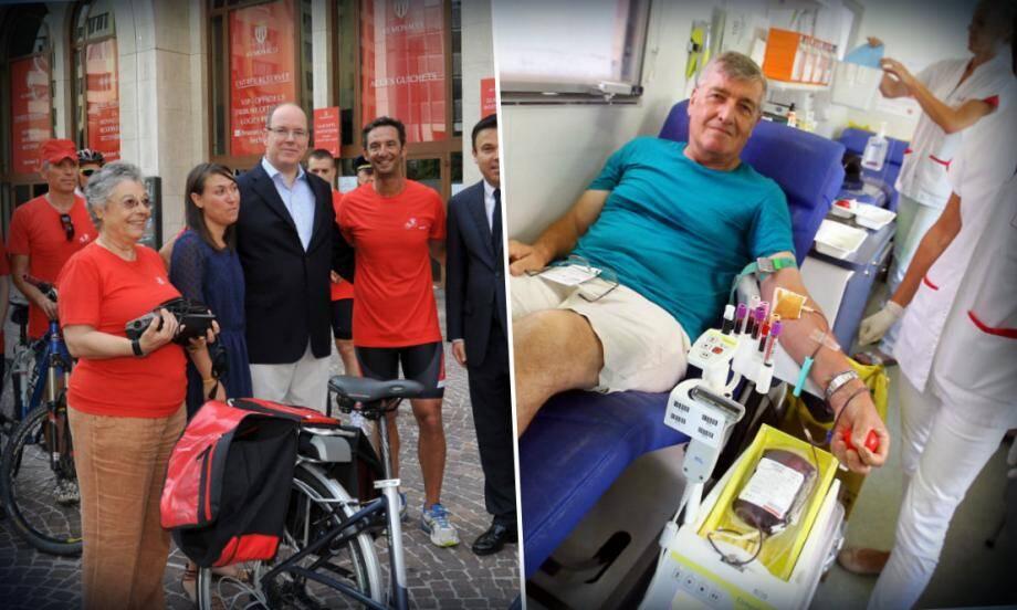Le prince Albert II, le conseiller de gouvernement pour les Affaires Sociales et la Santé Stéphane Valeri et le sportif Pierre Frolla sont venus soutenir l'opération Vélo Rouge organisée par Delphine Giordano.