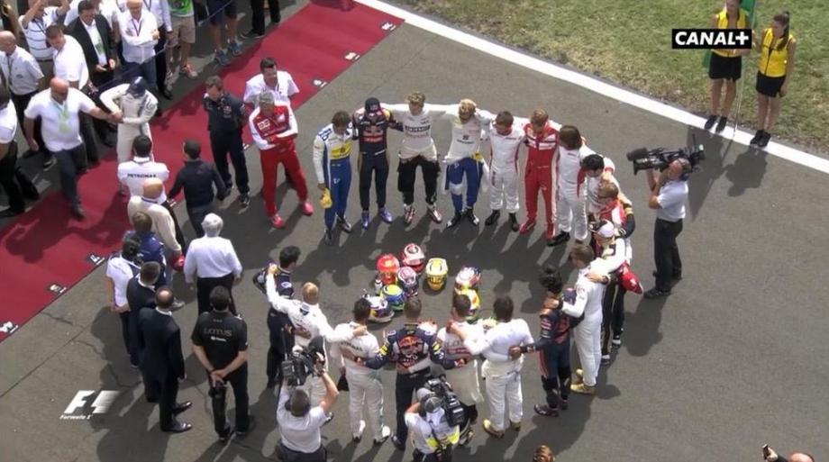 L'hommage des pilotes à Jules Bianchi au GP de Hongrie