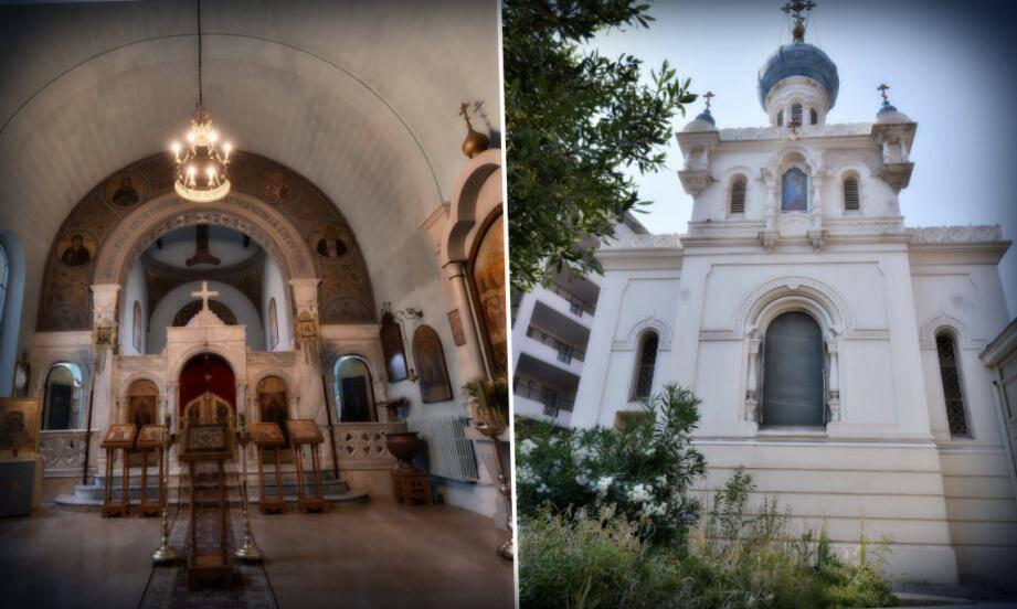 L'église mesure 12 m de long et 7,5 m de large pour une hauteur de 9 m à l'intérieur et 22 à l'extérieur. L'iconostase (au fond), sorte de cloison décorée d'icônes qui sépare la nef du sanctuaire est de style byzantin en marbre de Carrare.