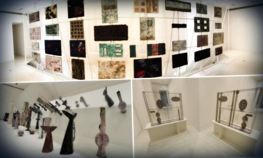 Une des pièces les plus impressionnantes de l'exposition, la mise en scène du travail de céramiste avec cette succession de vases se reflétant dans les miroirs. L'artiste est aussi connu pour ses créations en laiton soudé.