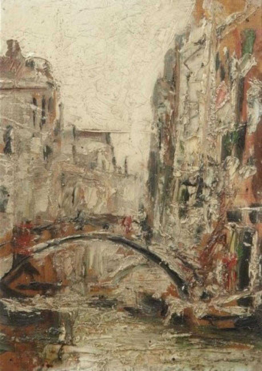 De gauche à droite et de haut en bas, « Un canal à Venise », « Toulon », « Intérieur d'auberge », et « Bayonne, 1904 ».