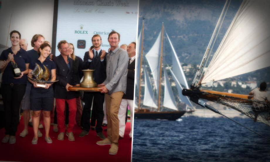 L'équipage au complet de Morwenna qui a reçu le prestigieux Trophée Monaco Classic Week des mains de Pierre Casiraghi