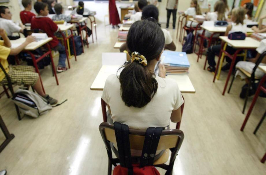 Une salle de classe dans un collège niçois.