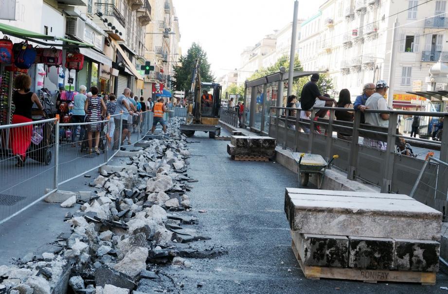 Les travaux sot en cours sur l'avenue Jean-Médecin à Nice.