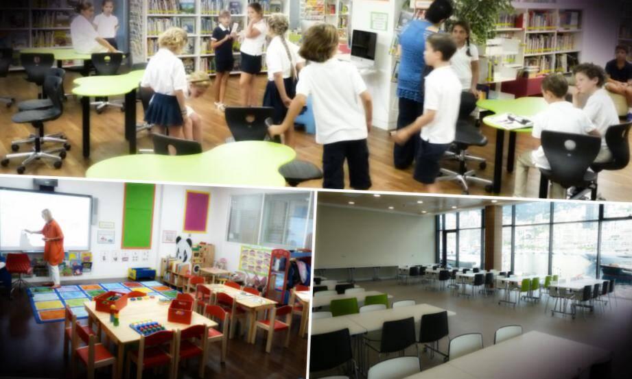 Toutes les salles de classes sont distribuées autour d'un « hub » bibliothèque, lieu de rencontres et de passage.
