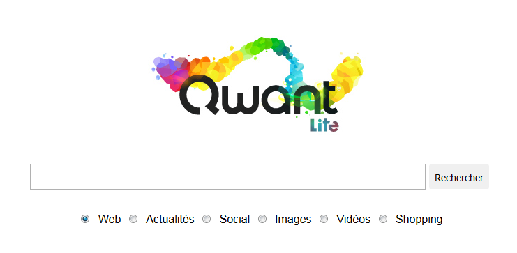 Interface du moteur de recherche Qwant lite.