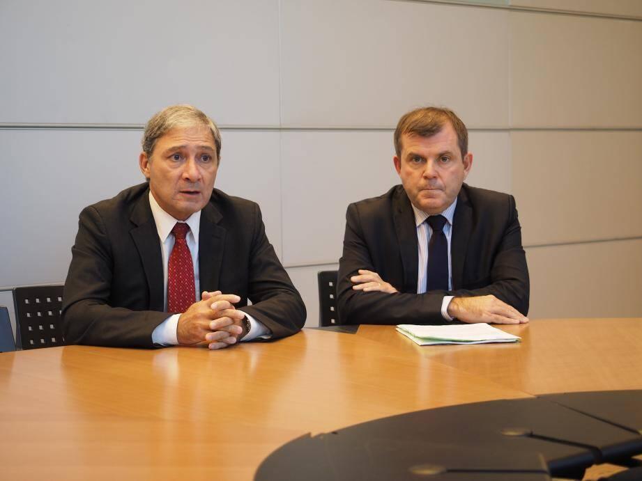 Le procureur de Nice, Jean-Michel Prêtre, et le directeur de la police judiciaire, M. Frizon.